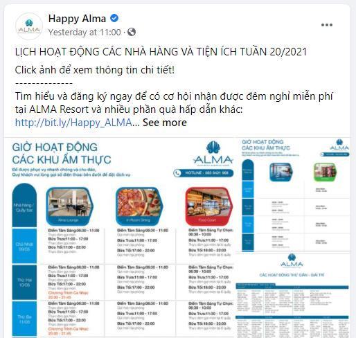 Fanpage Alma chăm chỉ cập nhật lịch hoạt động