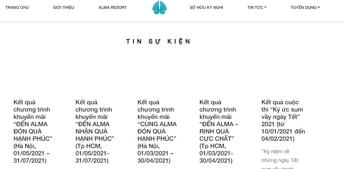 Tin các chương trình khuyến mãi của Alma trên website chính